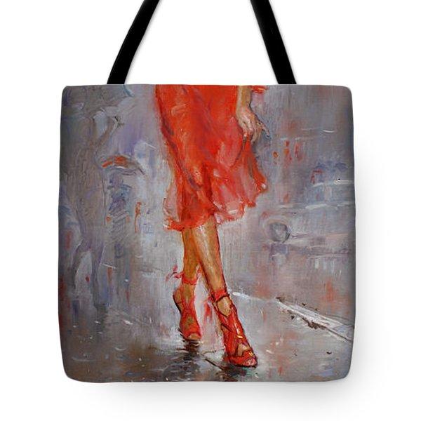Rain in Manhattan Tote Bag by Ylli Haruni