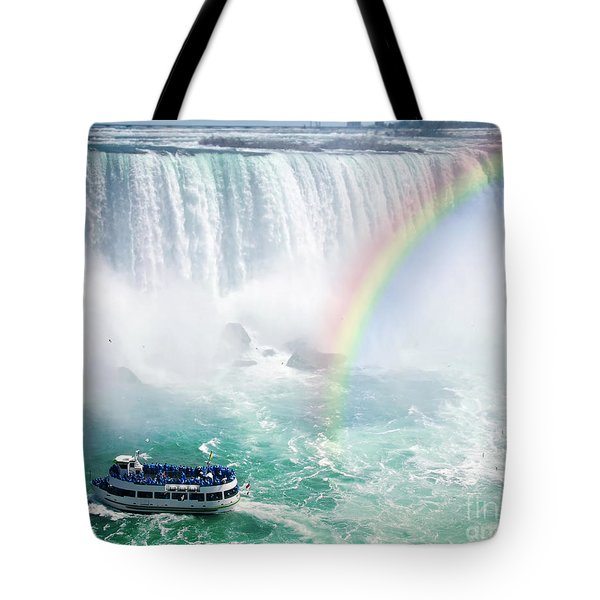 Rainbow and tourist boat at Niagara Falls Tote Bag by Elena Elisseeva