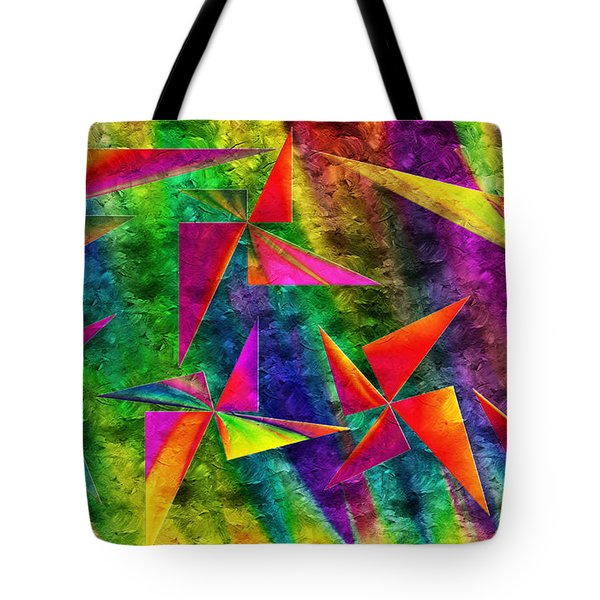 Rainbow Bliss - Pin Wheels - Painterly - Abstract - H Tote Bag by Andee Design