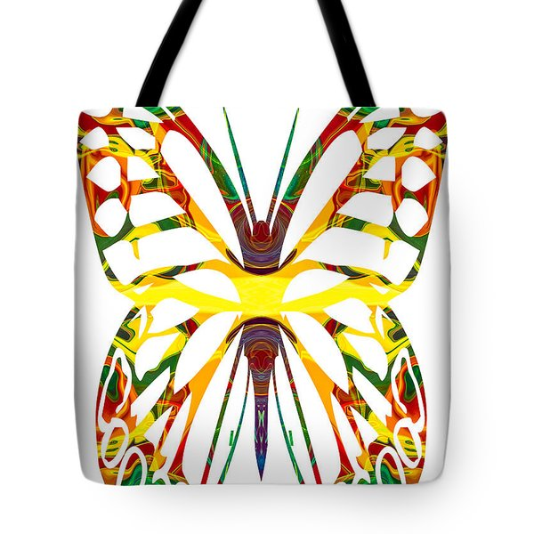 Rainbow Butterfly Abstract Nature Artwork Tote Bag by Omaste Witkowski