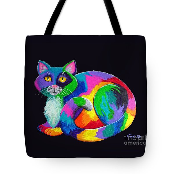 Rainbow Calico Tote Bag by Nick Gustafson