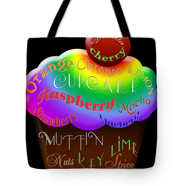 Rainbow Cupcake Typography Tote Bag by Andee Design