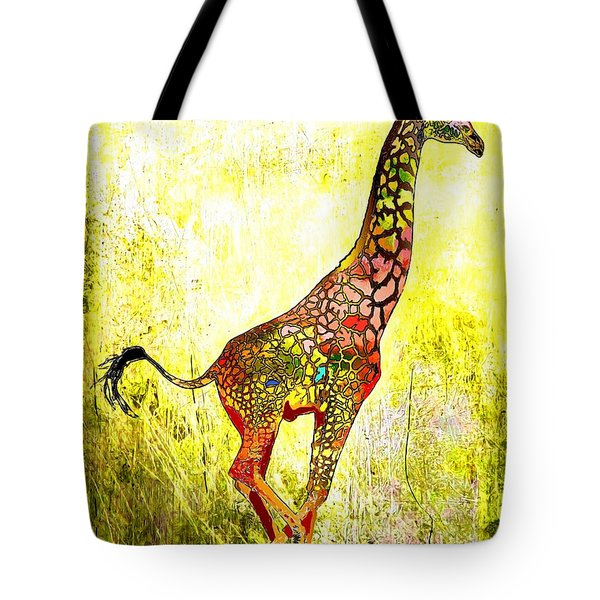 Rainbow Giraffe Tote Bag by Daniel Janda