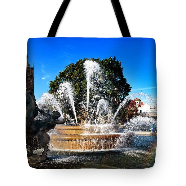 Rainbow in the JC Nichols Memorial Fountain Tote Bag by Andee Design