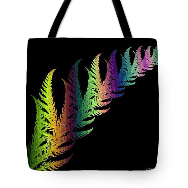 Rainbow Leaves Fractals Tote Bag by Mikki Cucuzzo