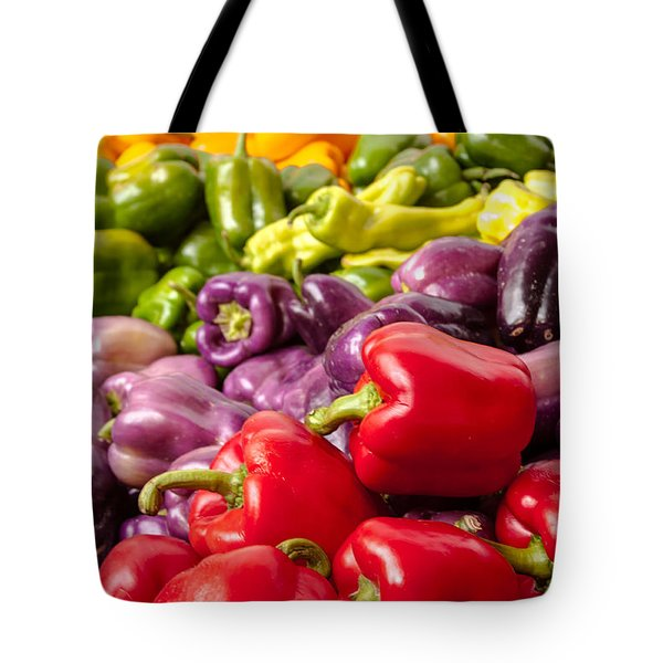 Rainbow Of Peppers Tote Bag by Teri Virbickis
