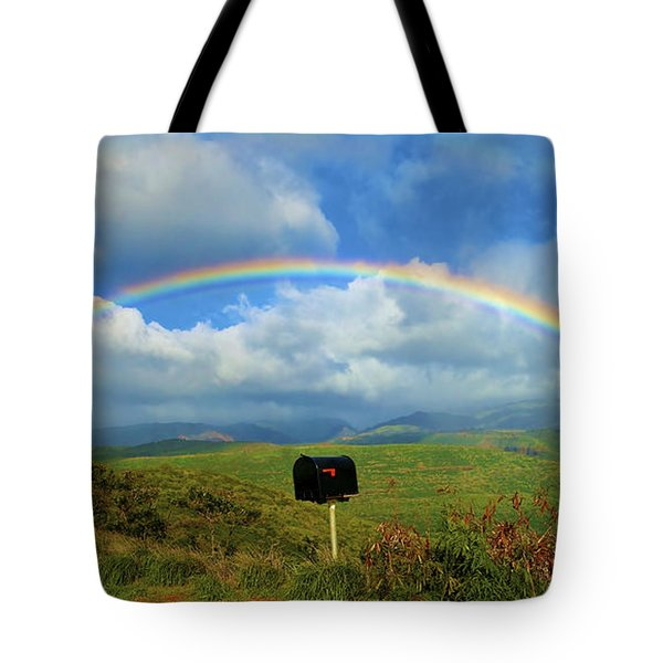 Rainbow Over A Mailbox Tote Bag by Kicka Witte
