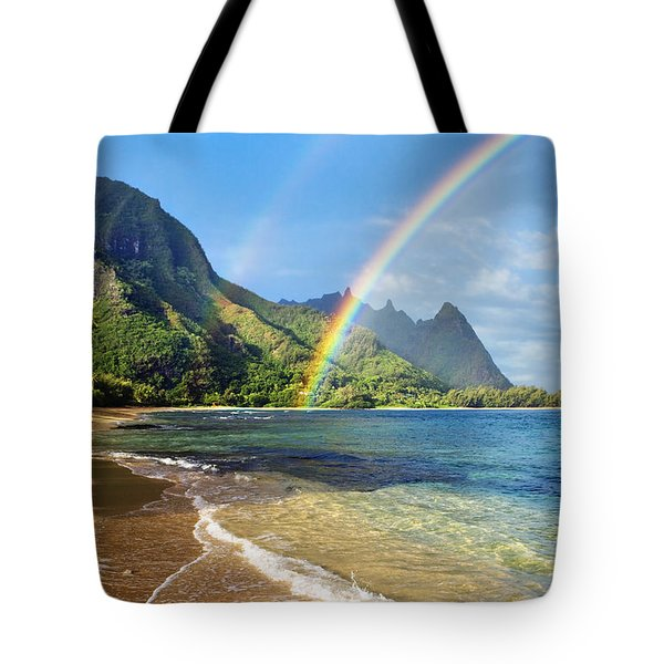 Rainbow Over Haena Beach Tote Bag by M Swiet Productions