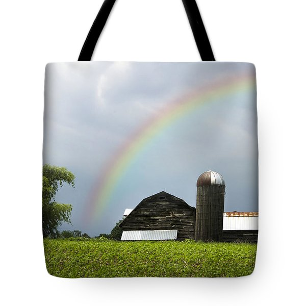 Rainbow Over Old Country Barn Tote Bag by Christina Rollo