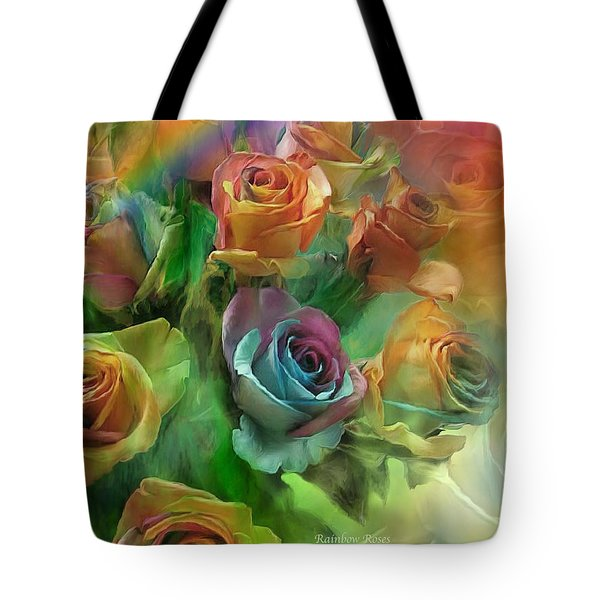 Rainbow Roses Tote Bag by Carol Cavalaris