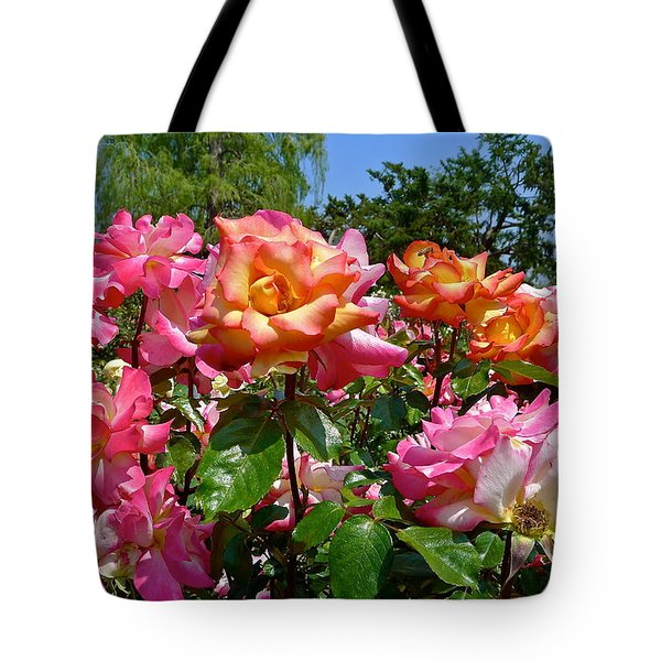 Rainbow Sorbet Roses Tote Bag by Denise Mazzocco