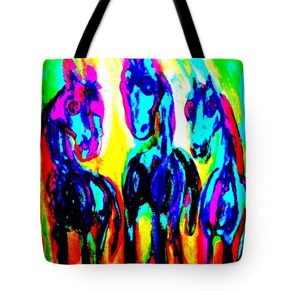 Rainbow stallions Tote Bag by Hilde Widerberg