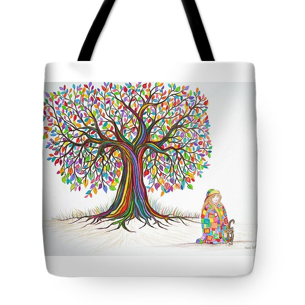 Rainbow Tree Dreams Tote Bag by Nick Gustafson