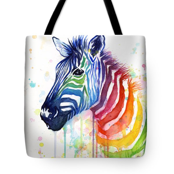 Rainbow Zebra - Ode to Fruit Stripes Tote Bag by Olga Shvartsur