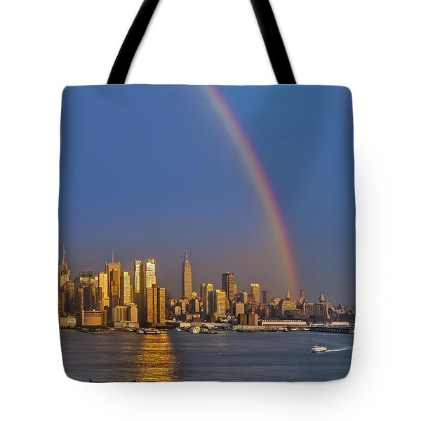 Rainbows Over The New York City Skyline Tote Bag by Susan Candelario