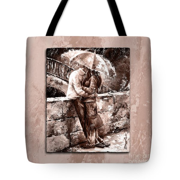 Rainy Day - Love In The Rain Style Mistyrose Tote Bag by Emerico Imre Toth