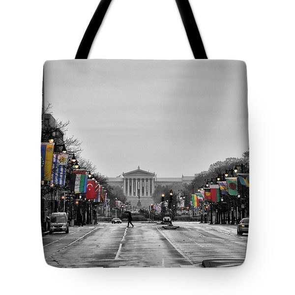 Rainy Day on the Parkway Tote Bag by Bill Cannon