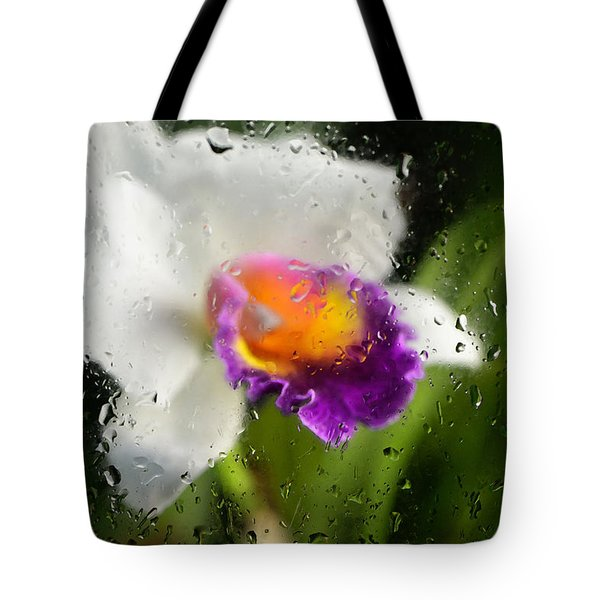 Rainy Day Orchid - Botanical Art By Sharon Cummings Tote Bag by Sharon Cummings