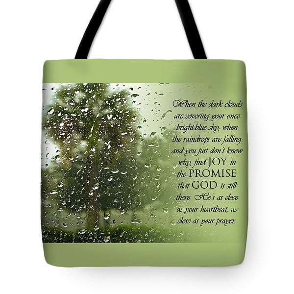Rainy Day Promise Tote Bag by Carolyn Marshall