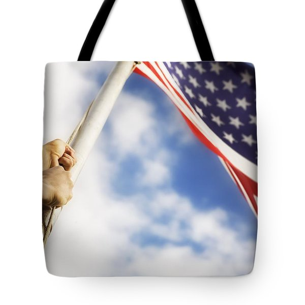 Raising An American Flag Tote Bag by Chris and Kate Knorr