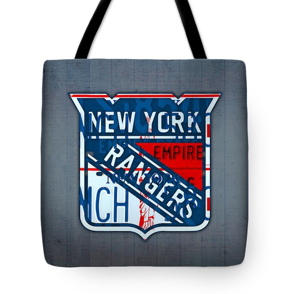 Rangers Original Six Hockey Team Retro Logo Vintage Recycled New York License Plate Art Tote Bag by Design Turnpike