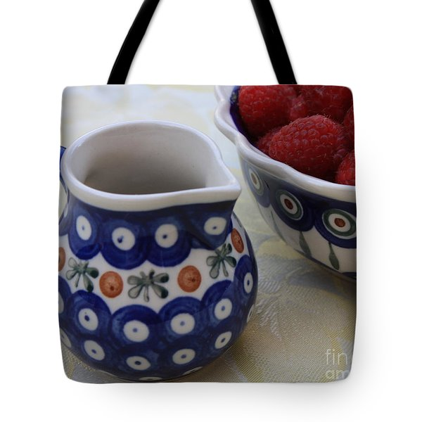 Raspberries with Cream Tote Bag by Carol Groenen