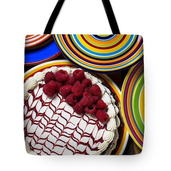 Raspberry Cake Tote Bag by Garry Gay