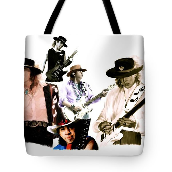 Rave On  Stevie Ray Vaughan Tote Bag by Iconic Images Art Gallery David Pucciarelli