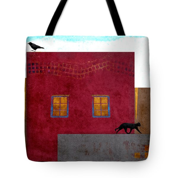 Raven And Cat Tote Bag by Carol Leigh