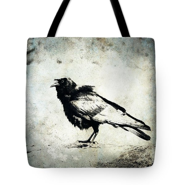 Raven On Blue Tote Bag by Carol Leigh