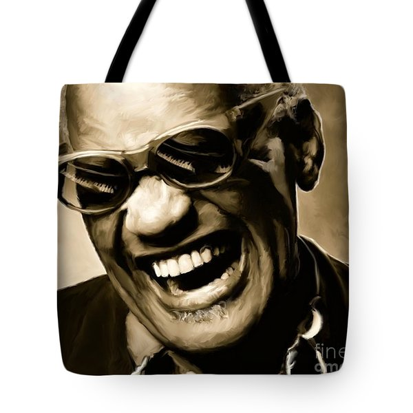 Ray Charles - Portrait Tote Bag by Paul Tagliamonte