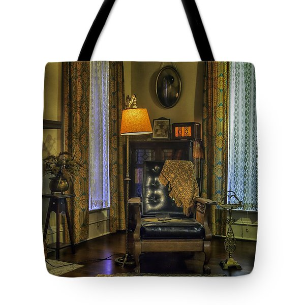 Reading Nook With Leather Chair Tote Bag by Lynn Palmer