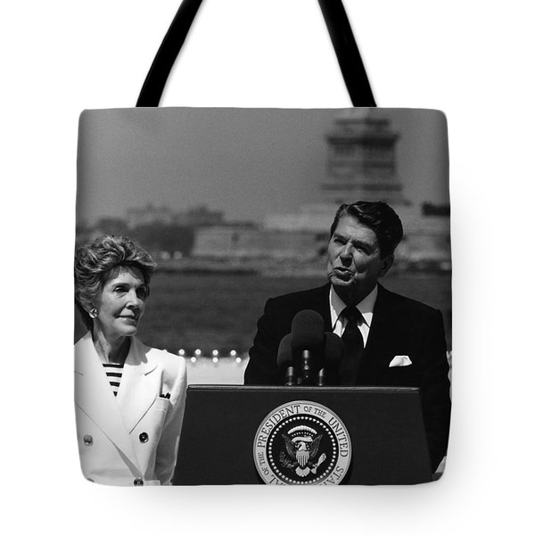 Reagan Speaking Before The Statue Of Liberty Tote Bag by War Is Hell Store