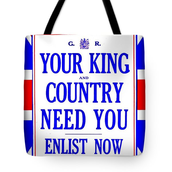 Recruiting Poster - Britain - King And Country Tote Bag by Benjamin Yeager