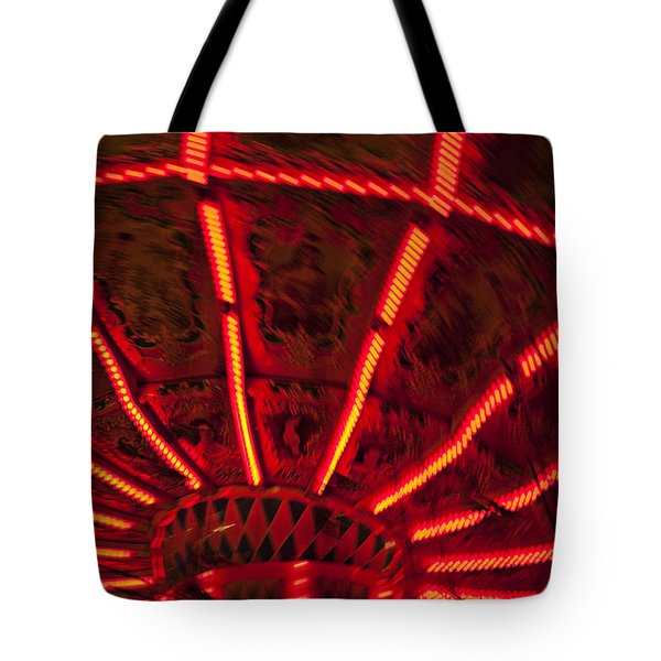 Red Abstract Carnival Lights Tote Bag by Garry Gay