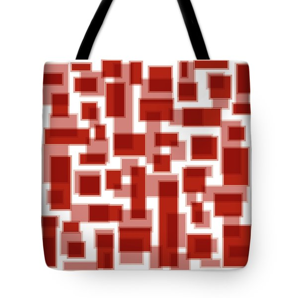 Red Abstract Patches Tote Bag by Frank Tschakert
