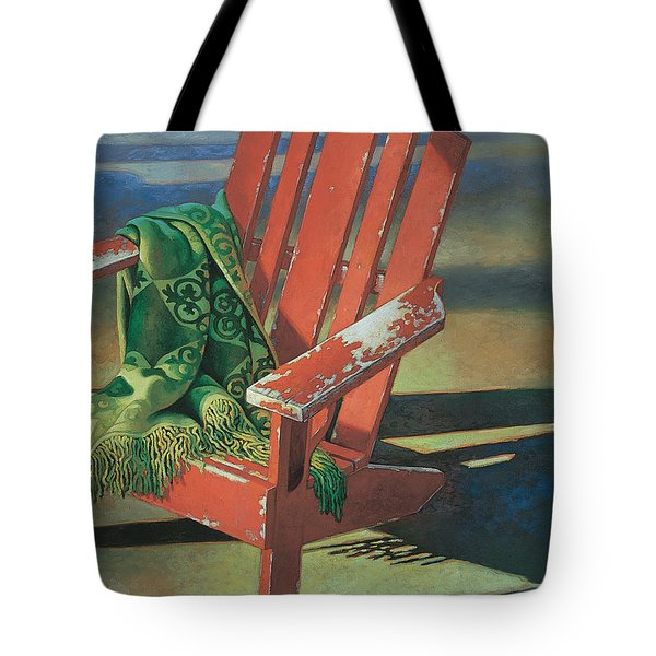 Red Adirondack Chair Tote Bag by Mia Tavonatti