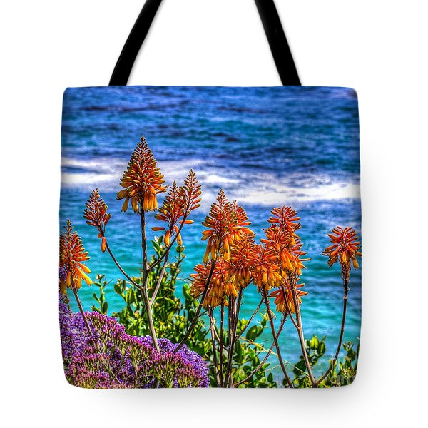 Red Aloe By The Pacific Tote Bag by Jim Carrell