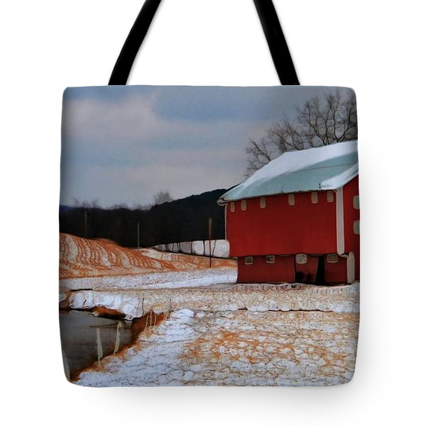Red Amish Barn In Winter Tote Bag by Dan Sproul