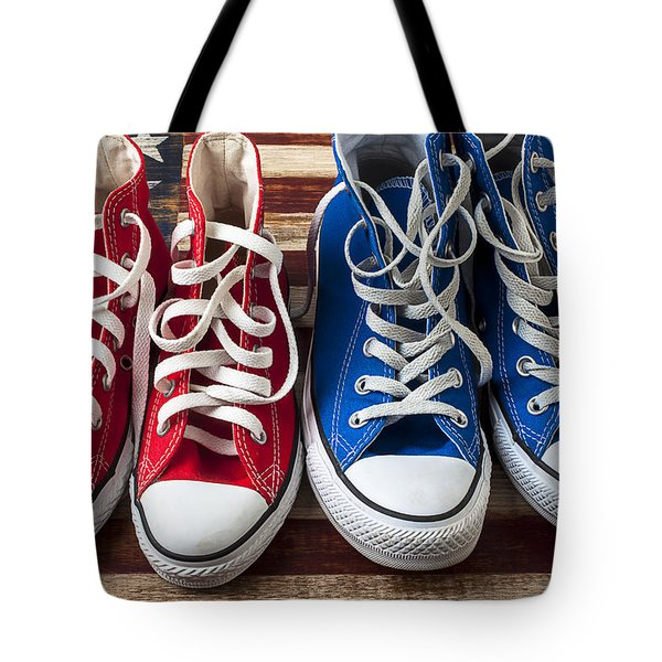 Red And Blue Tennis Shoes Tote Bag by Garry Gay