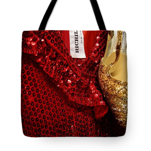 Red And Gold Holiday Tote Bag by Toni Hopper