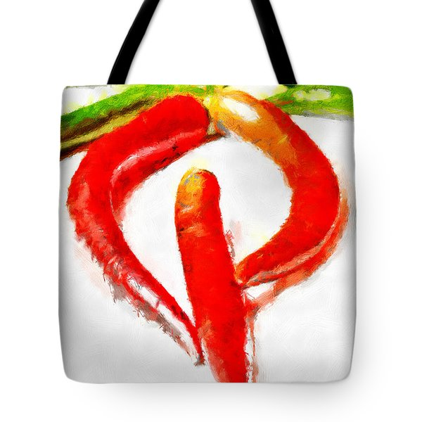 Red And Green Chili Peppers Painting Tote Bag by Magomed Magomedagaev
