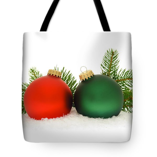 Red And Green Christmas Baubles Tote Bag by Elena Elisseeva