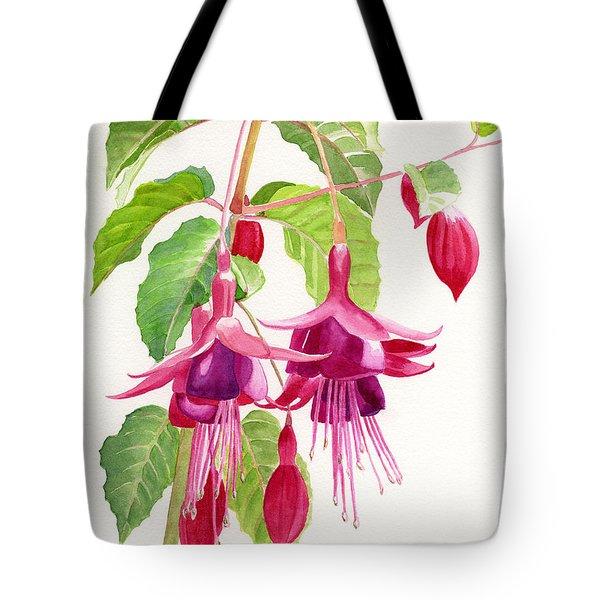 Red And Purple Fuchsias Tote Bag by Sharon Freeman