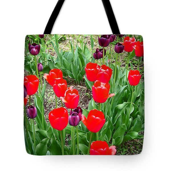Red and Purple Tulips Tote Bag by Aimee L Maher Photography and Art