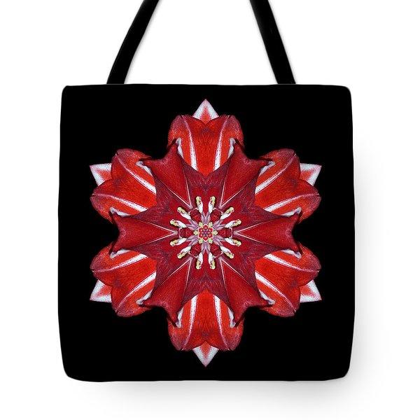 Red And White Amaryllis Vii Flower Mandala Tote Bag by David J Bookbinder