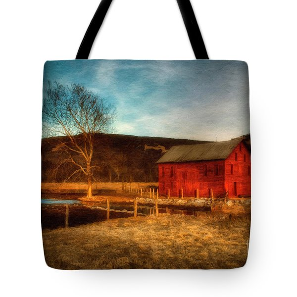 Red Barn At Twilight Tote Bag by Lois Bryan