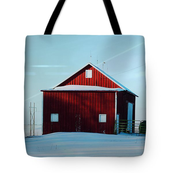 Red Barn During Illinois Winter Tote Bag by Luther   Fine Art