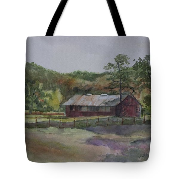 Red Barn Tote Bag by Janet Felts