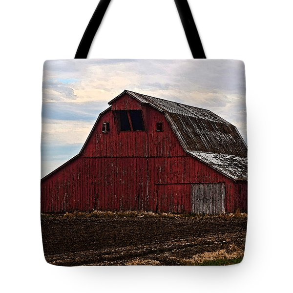 Red barn photoart Tote Bag by Debbie Portwood